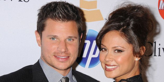 Nick Lachey and Vanessa Minnillo arrive at the Clive Davis And The Recording Academy's 2011 Pre-GRAMMY Gala at The Beverly Hilton hotel on February 12, 2011 in Beverly Hills, California.