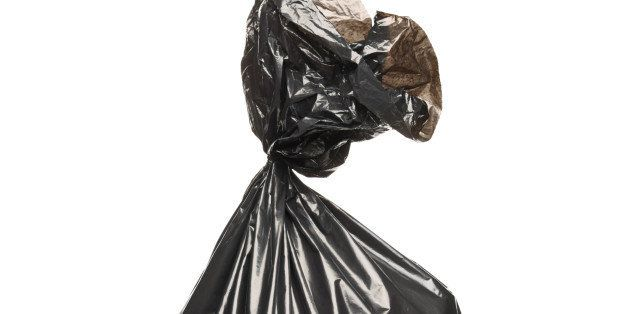 a studio shot of a garbage bag...