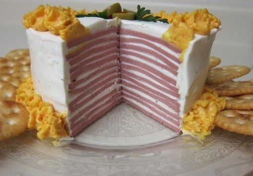 """Um, this is <a href=""""http://www.reddit.com/r/shittyfoodporn/comments/19r3md/bologna_cake/"""" target=""""_blank"""">bologna cake</a>."""