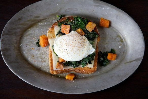 "<strong>Get the <a href=""http://food52.com/recipes/14209-sauteed-kale-roasted-sweet-potato-and-poached-egg-holiday-toast"" tar"