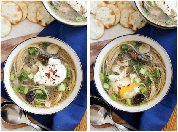"<strong>Get the <a href=""http://www.howsweeteats.com/2013/10/mushroom-chicken-noodle-soup-with-poached-eggs/"" target=""_blank"""