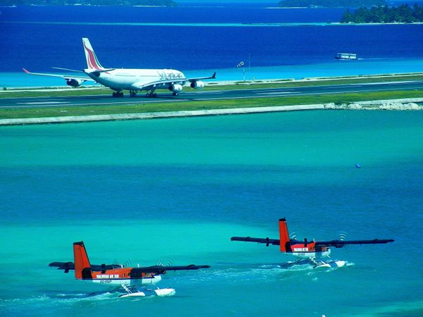 The runway juts out into the famously clear waters of the Maldives. What more could you ask for as a welcome (or departure)?