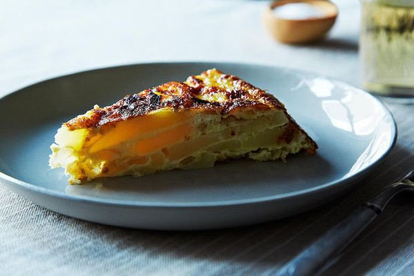The frittata has a leg up on quiche for one very particular reason: Tortilla Española. This stuff is the real deal. Hot, cold