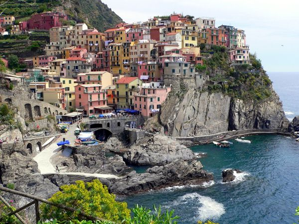 Five villages on the Italian Riviera--Vernazza, Monterossa al Mare, Riomaggiore, Corniglia and Manarola--have pastel-colored