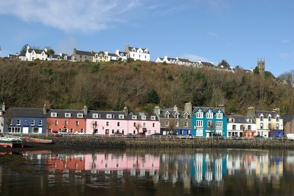 Colorful homes line the coast on this Isle of Mull town.