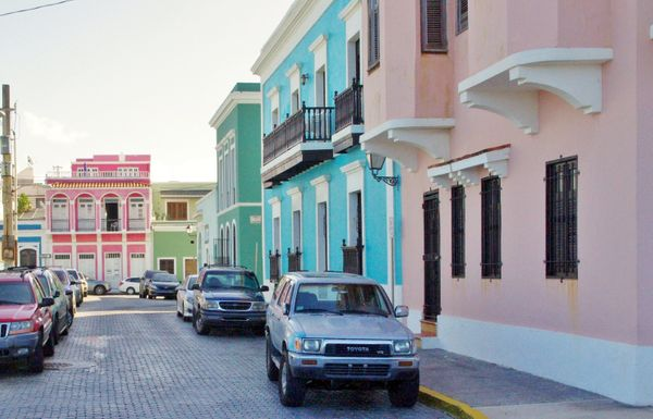 Tropical colors are the name of the game in this historic section of the city.
