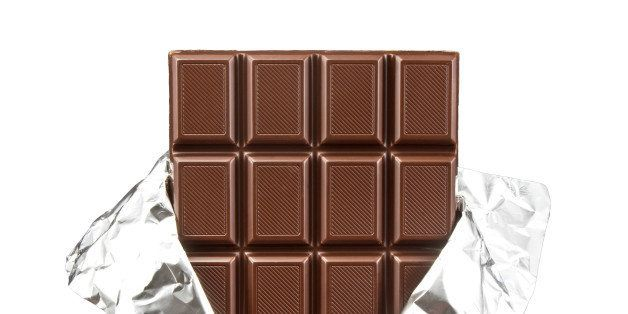 chocolate bar with open cover...