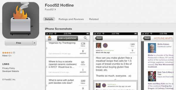 """<a href=""""https://itunes.apple.com/us/app/food52-hotline/id479689597?mt=8"""" target=""""_blank"""">This app </a>is free, and offers us"""
