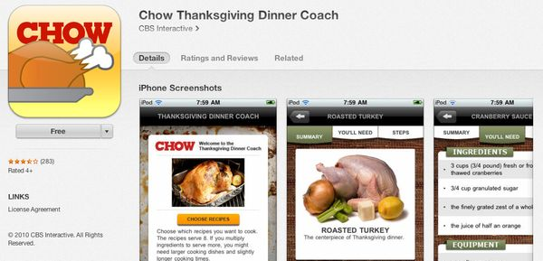 """<a href=""""https://itunes.apple.com/us/app/chow-thanksgiving-dinner-coach/id399316208"""" target=""""_blank"""">This free app</a> focuse"""