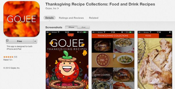 """Gojee's <a href=""""https://itunes.apple.com/us/app/thanksgiving-recipe-collections/id727832178?mt=8"""" target=""""_blank"""">free recip"""