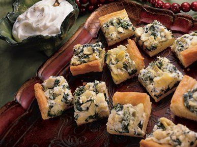 """Get the <a href=""""http://greengiant.com/recipes/detail/baked-artichoke-squares"""" target=""""_blank"""">recipe</a>."""