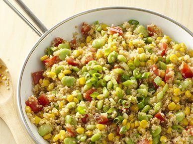 """Get the <a href=""""http://greengiant.com/recipes/detail/quinoa-succotash"""" target=""""_blank"""">recipe</a>."""