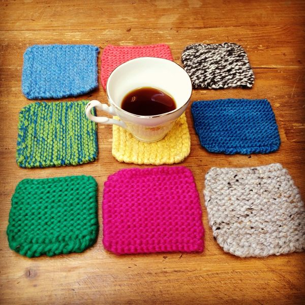 """Practice knitting squares make for a perfect <a href=""""http://www.huffingtonpost.com/2012/11/27/homemade-gift-ideas-knitted-co"""