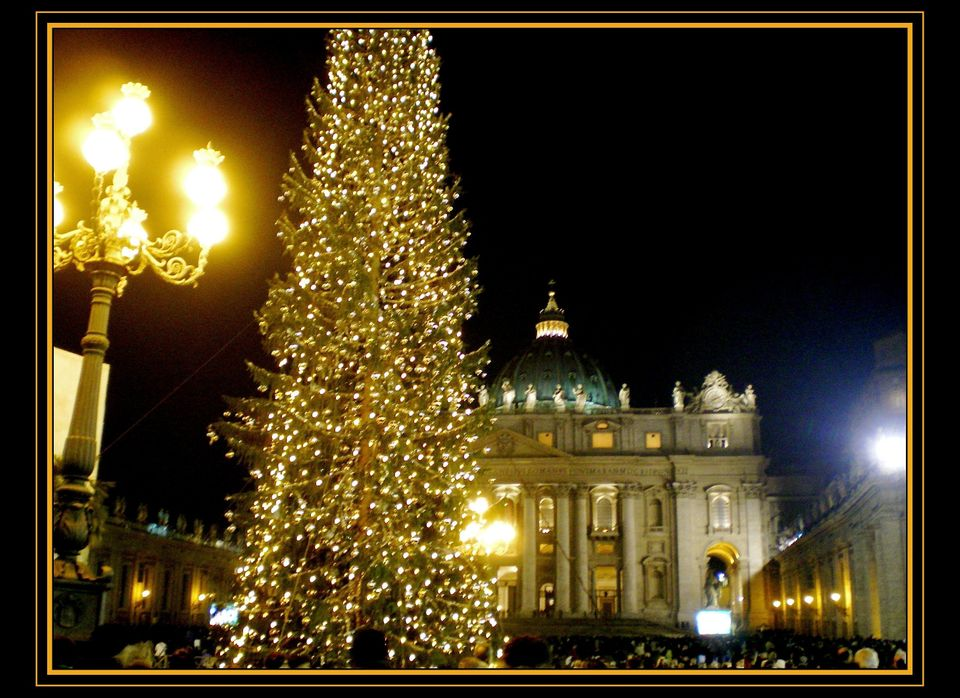 On Christmas Eve, all eyes turn to Vatican City where the Pope says Midnight Mass. St. Peter's Square displays a life-size Na