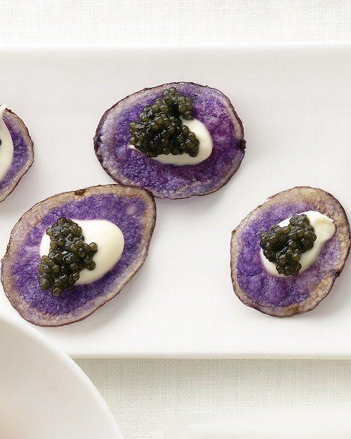 "<strong>Get the <a href=""http://www.marthastewartweddings.com/270173/purple-potato-chips-creme-fraiche-and-caviar-recipe"" tar"