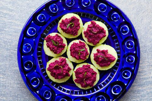 """<strong>Get the <a href=""""http://www.simplyrecipes.com/recipes/beet_hummus/"""">Beet Hummus recipe from Simply Recipes</a></stron"""