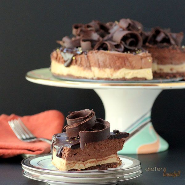 """<strong>Get the <a href=""""http://dietersdownfall.com/mousse-cake/"""" target=""""_blank"""">Cookie Butter and Chocolate Mousse Cake rec"""