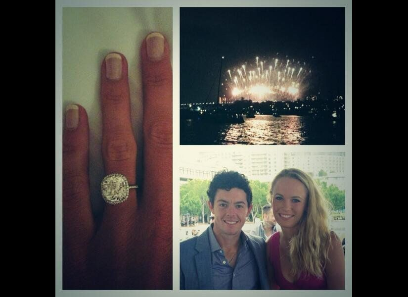 Golf great Rory McIlroy proposed to tennis great Catherine Wozniacki with this huge cushion cut halo set engagement ring. (Ph