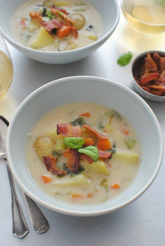 """<strong>Get the <a href=""""http://bevcooks.com/2013/03/creamy-potato-soup-with-bacon-and-basil/"""" target=""""_blank"""">Creamy Potato"""
