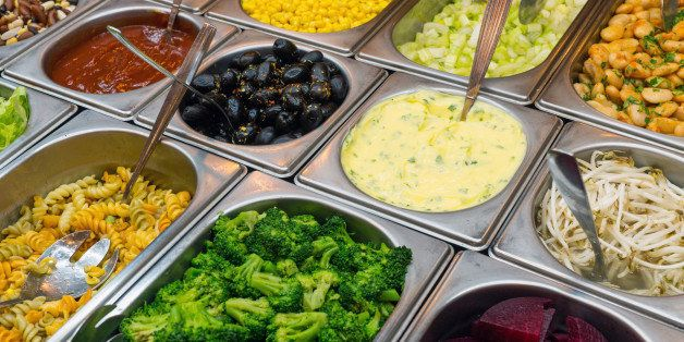 Detail of a beautiful salad buffet with a rich choice