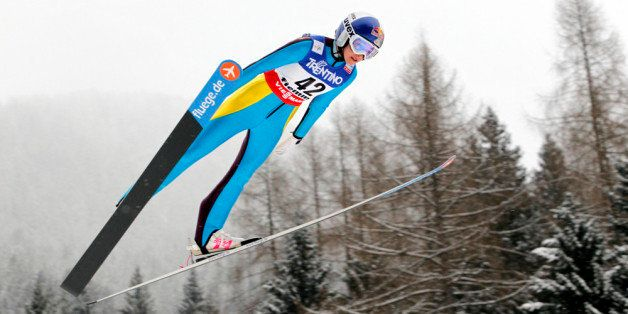 VAL DI FIEMME, ITALY - FEBRUARY 22: (FRANCE OUT) Sarah Hendrickson of the USA in action during the Women's Ski Jumping HS106 at the FIS Nordic World Ski Championships on February 22, 2013 in Val di Fiemme, Italy.  (Photo by Christophe Pallot/Agence Zoom/Getty Images)