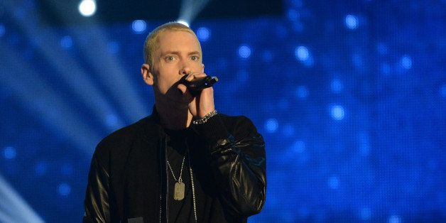 AMSTERDAM, NETHERLANDS - NOVEMBER 10:  Eminem accepts the Best Hip Hop award onstage during the MTV EMA's 2013 at the Ziggo Dome on November 10, 2013 in Amsterdam, Netherlands.  (Photo by Jeff Kravitz/FilmMagic)