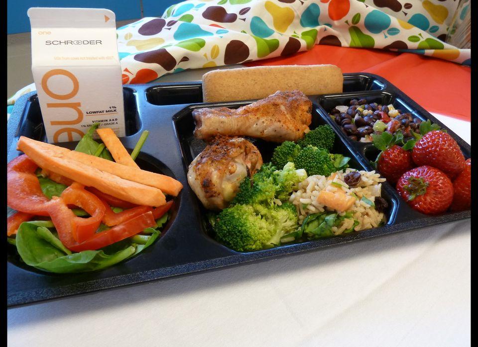 Grilled Drum Sticks, Whole Wheat Baguette, Veggies, Fruit, Rice, & Black Beans from Saint Paul Public Schools, Minnesota.