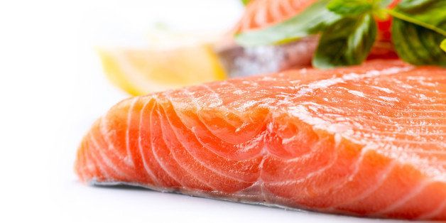 salmon raw fillet. red fish...