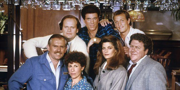 CHEERS -- Pictured: (top) Kelsey Grammer as Dr. Frasier Crane, Ted Danson as Sam Malone, Woody Harrelson as Woody Boyd, (bottom) John Ratzenberger as Cliff Clavin, Rhea Perlman as Carla Lozupone Tortelli LeBec,  Kirstie Alley as Rebecca Howe, George Wendt as Norm Peterson-- Photo by: NBCU Photo Bank