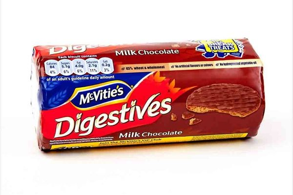 These semi-sweet wheat biscuits were first made by McVitie's in 1925 under the name Chocolate Homewheat Digestive. Today, the