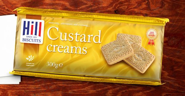 A custard-flavored cream -- that tastes pretty much like vanilla -- is sandwiched between two elaborately decorated cookies i