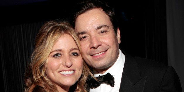 68th ANNUAL GOLDEN GLOBE AWARDS -- Pictured: (l-r) Nancy Juvonen, Jimmy Fallon during NBC Universal's Golden Globes Post-Part