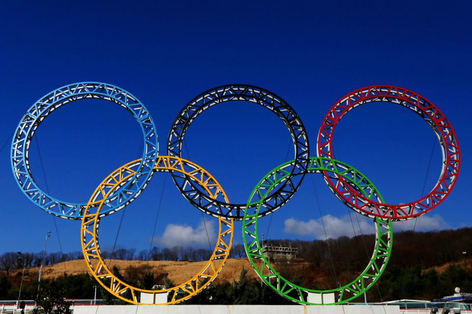 ADLER, RUSSIA - JANUARY 08:  The Olympic Rings stand outside of Sochi International Airport on January 8, 2014 in Adler, Russ