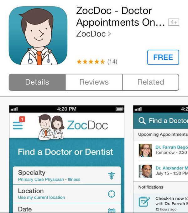 """The well-known site <a href=""""http://www.zocdoc.com/"""" target=""""_blank"""">ZocDoc</a> has a free app that enables you to find a doc"""