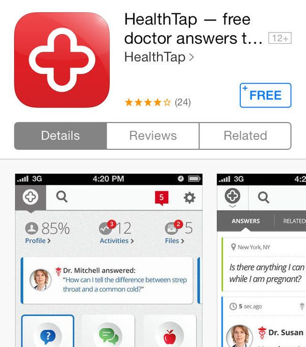 Through HealthTap, you can get a free, quick answer to your medical question -- from a real doctor. The app provides informat