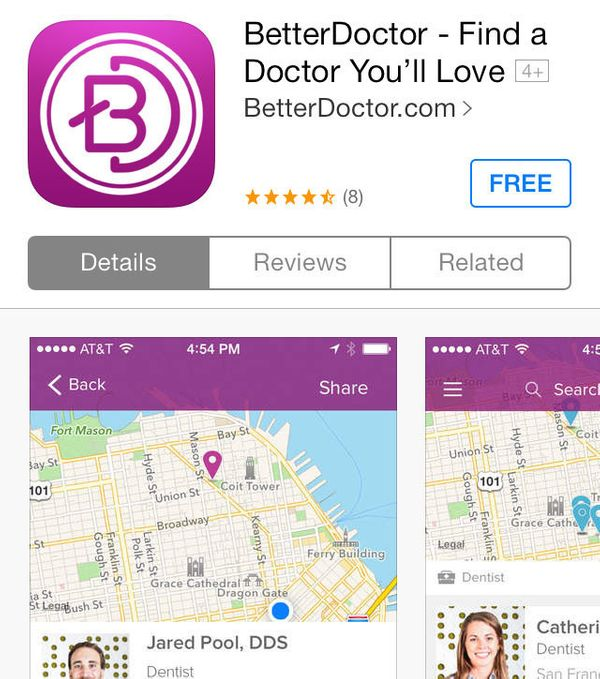 """<a href=""""https://betterdoctor.com/"""" target=""""_blank"""">BetterDoctor</a> is a doctor-finding app that takes into account doctors'"""