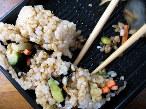 "White rice is one of the sneakiest calorie culprits on sushi menus. ""Luckily, the average sushi place is a little more progre"