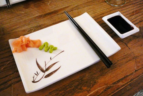 "Soy sauce is usually right in front of you at the sushi counter, and it's okay to dip into it -- but sparingly. ""Low-sodium s"