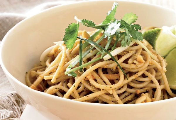 This Chinese take-out staple gets an update by substituting pleasantly chewy whole wheat spaghetti for the usual egg noodles