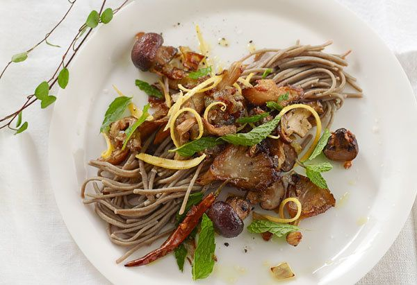 A mushroom pasta dish is healthier and more flavorful with hearty Japanese soba noodles instead of regular semolina.  <a href