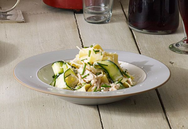 Canned tuna doesn't have to mean sandwiches; instead, toss it with ribbons of zucchini, pappardelle and a lemony cream sauce.