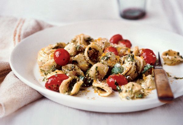"Fresh vegetables and Arugula and Walnut Pesto add great flavor to this pasta dish.  <a href=""http://www.oprah.com/food/Orecch"