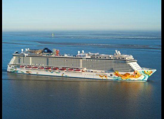 Aerial shot of Norwegian Cruise Line's brand new Norwegian Getaway, sistership to their recently introduced Norwegian Breakaw