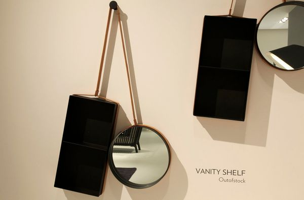 "With just a hook, this mirror and small storage container become a vanity and medicine cabinet. Designed by <a href=""http://w"
