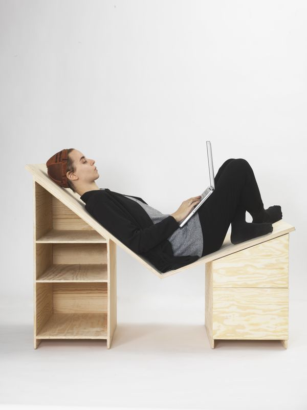 "Why shouldn't you be able to lay down on your desk? This <a href=""http://www.minnamagnusson.com/"" target=""_blank"">comfort-foc"