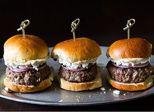 """<strong>Get the <a href=""""http://food52.com/recipes/18399-lamb-sliders-with-feta-cheese-red-onions-and-cumin-mayonnaise"""" targe"""
