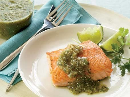 """<strong>Get the <a href=""""http://www.huffingtonpost.com/2011/10/27/tangy-tomatillo-cumin-sal_n_1058740.html"""" target=""""_blank"""">T"""
