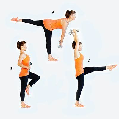 Works every muscle while helping your balance and stability. <br><br>       Stand with feet hip-width apart, a dumbbell in ea
