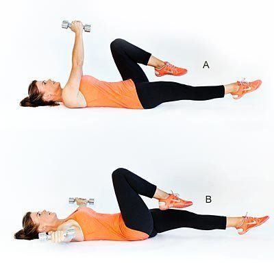 Works front deltoids, chest and core. <br><br> Lie face-up with a dumbbell in each hand; raise arms straight up. Bend left kn