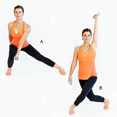 Works arms, abs, hips, butt, quads and hamstrings. <br><br> Start with feet hip-width apart, holding a dumbbell in left hand.